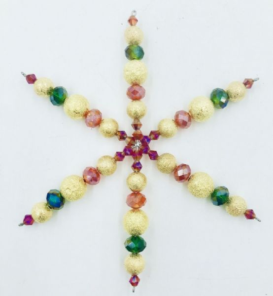 7 x Crystal and Gold Frosted Bead Snowflake Spacer Kit  Red, Green (£2.14 each)
